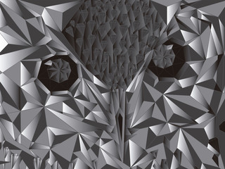 Owl Low Poly silver