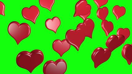 hearts rotating loop green screen