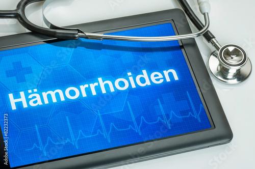 Leinwandbild Motiv Tablet mit der Diagnose Hämorrhoiden auf dem Display