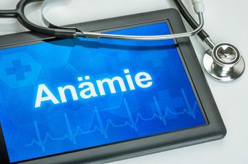 Tablet mit der Diagnose Anämie auf dem Display