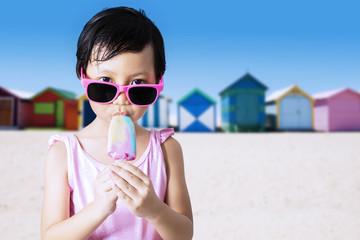 Happy kid enjoy ice cream