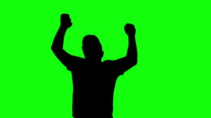 single man silhouette dancing green screen