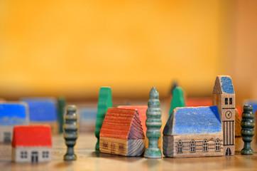 Holzbausteine Dorf