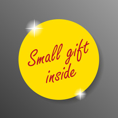 small gift inside sticker with glitters