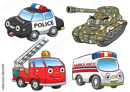 police fire ambulance tank cartoon