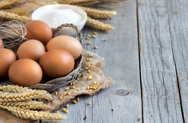 Chicken eggs, wheat and flour