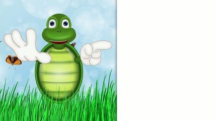 Funny turtle comic cartoon illustration