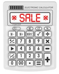 Sale. Inscription on the electronic calculator