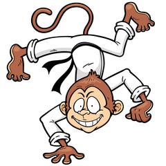 Vector illustration of Monkey Karate kick