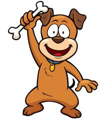 Vector illustration of Cartoon Dog holding bone