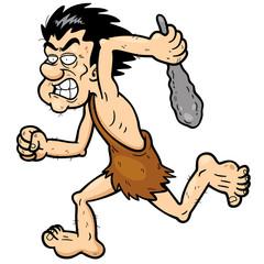 Vector illustration of Cartoon caveman running