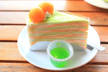 Cake with fresh melon a summer dessert