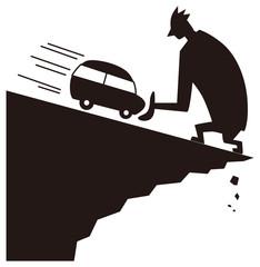 車の危機を救う男性