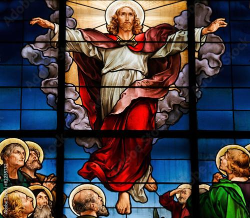 Leinwanddruck Bild Ascension of Christ - Stained Glass