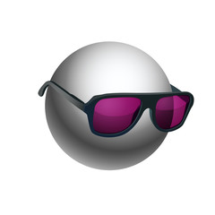 Gray ball wearing sunglasses isolated on white
