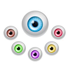 Set of colorful eyes isolated on white