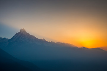 The first light before sunrise at Mount Machhapuchchhre