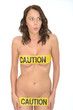 Sexy Sensual Naked Young Pin Up Woman Wearing Yellow Caution Tap