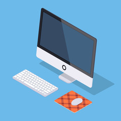Isometric monoblock computer with white keyboard and computer