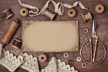 old tools for needlework vintage style (toning)