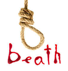 Noose and bloody letters as a symbol of death
