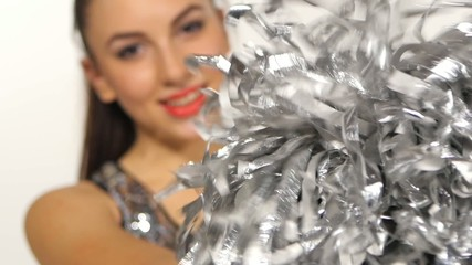 Cheerleader with pompoms, full length portrait of happy smile