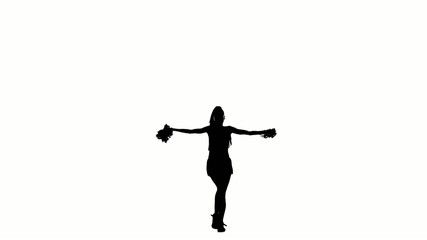 A young cheerleading, pom-pom isolated on white, slow motion