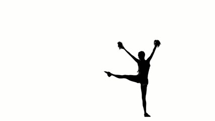 Cheerleader. Isolated On White Background. Silhoutte, slow