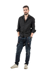 Confident fashion male with rolled sleeves