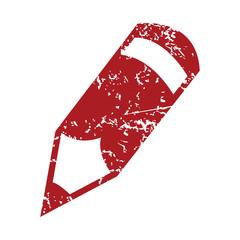 Red grunge pencil logo