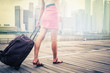 Leinwandbild Motiv tourist or woman adventure with luggage in Singapore
