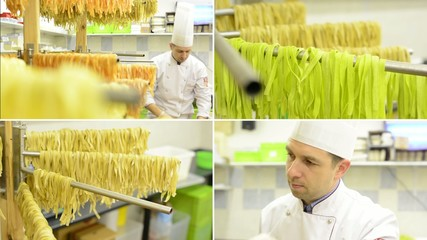 montage - Chef gives dry pasta on stand - after production