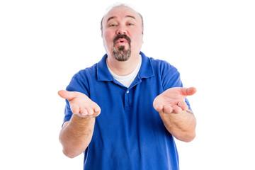 Persuasive man cajoling and pleading