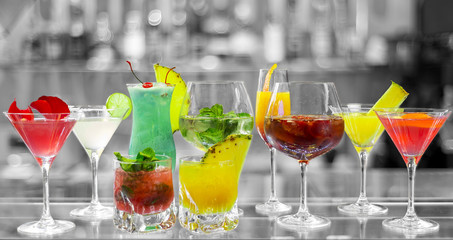 selection of cocktails on black and white background