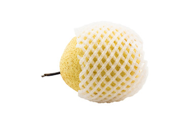 chinese pear with white foam net protection isolated white backg