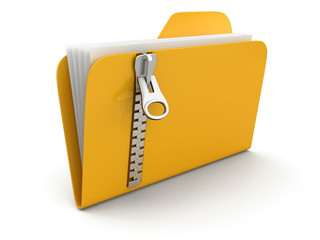 Folder and list with zipper (clipping path included)