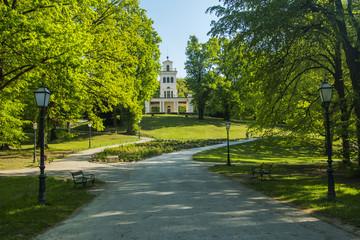 Pavilion in park Maksimir in Zagreb, Croatia, aerial view