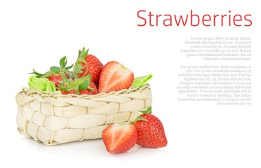 Fresh strawberries in a basket on a white background