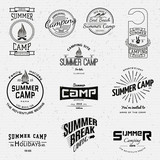 Summer camp badges logos and labels for any use poster