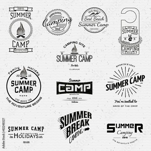 poster of Summer camp badges logos and labels for any use