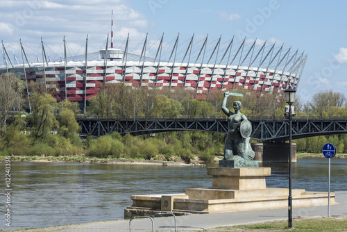 Zdjęcia na płótnie, fototapety, obrazy : National Stadium and Statue of Mermaid in Warsaw, Poland
