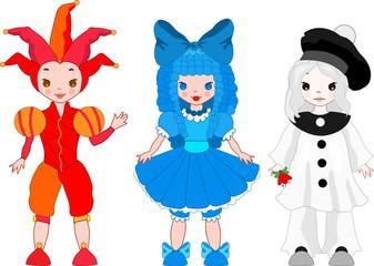 Harlequin, Pierrot, Columbina fun cartoon vector illustration