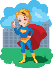 Super Boy fun cartoon vector illustration