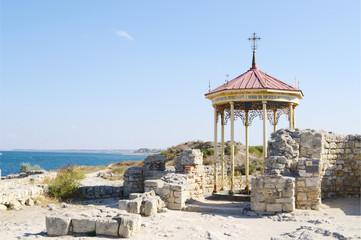 Chersonese, ruins of baptistery  with rotunda, Crimea.