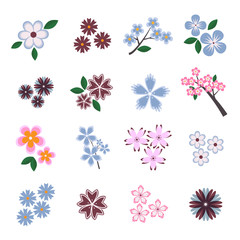 Set of vector flowers for patterns and decoration