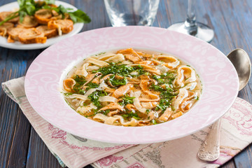 soup  with egg pancakes and herbs - Frittatensuppe