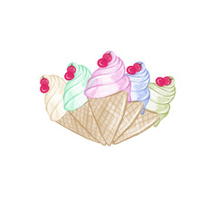 Ice cream cones Hand drawn illustration