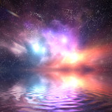 Ocean under galaxy sky. Stars, fantasy, water reflection
