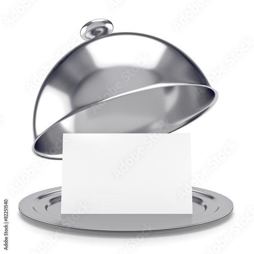 Fotobehang Assortiment vassoio d'argento con coperchio e biglietto