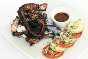 Grilled octopus in seafood restaurant of Arequipa, Peru.